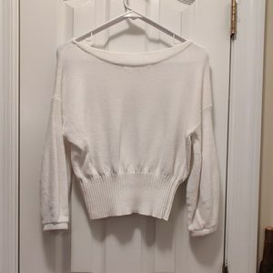 Anthropologie White balloon sleeve sweater